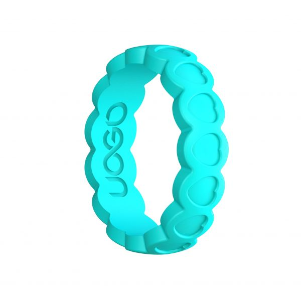 Women's Aqua Azure Aeon Heart Series Silicone Ring