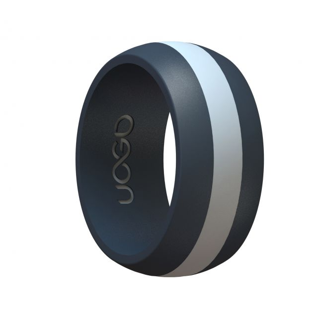 Men's Carbon Black/Arctic White Track Inspired Silicone Ring