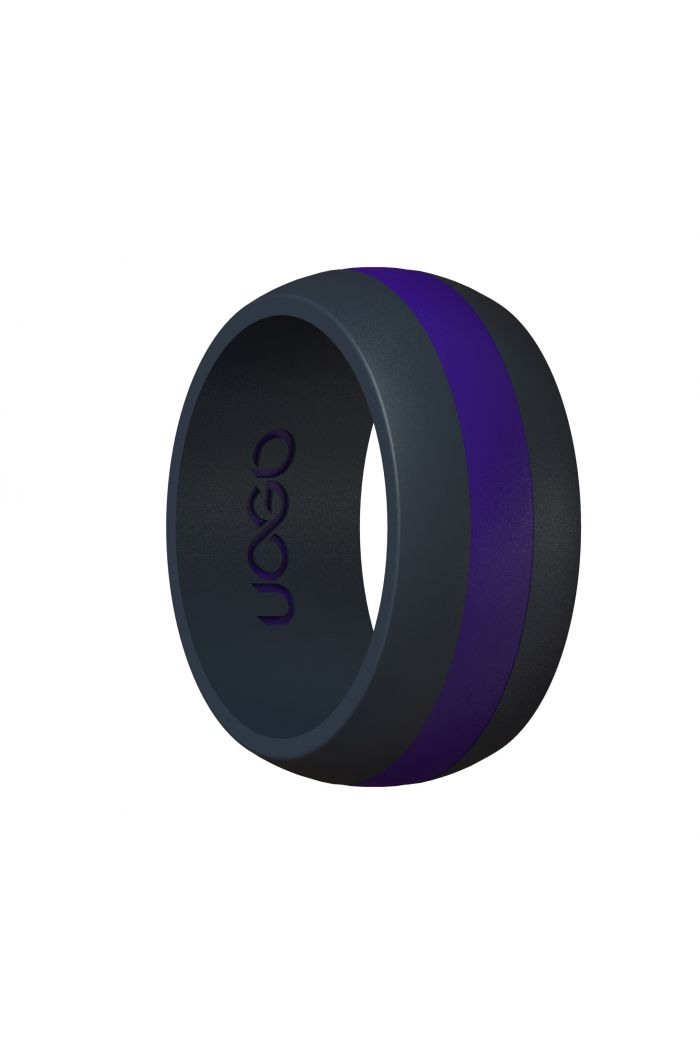 Men's Carbon Black/Electric Blue Track Inspired Silicone Ring