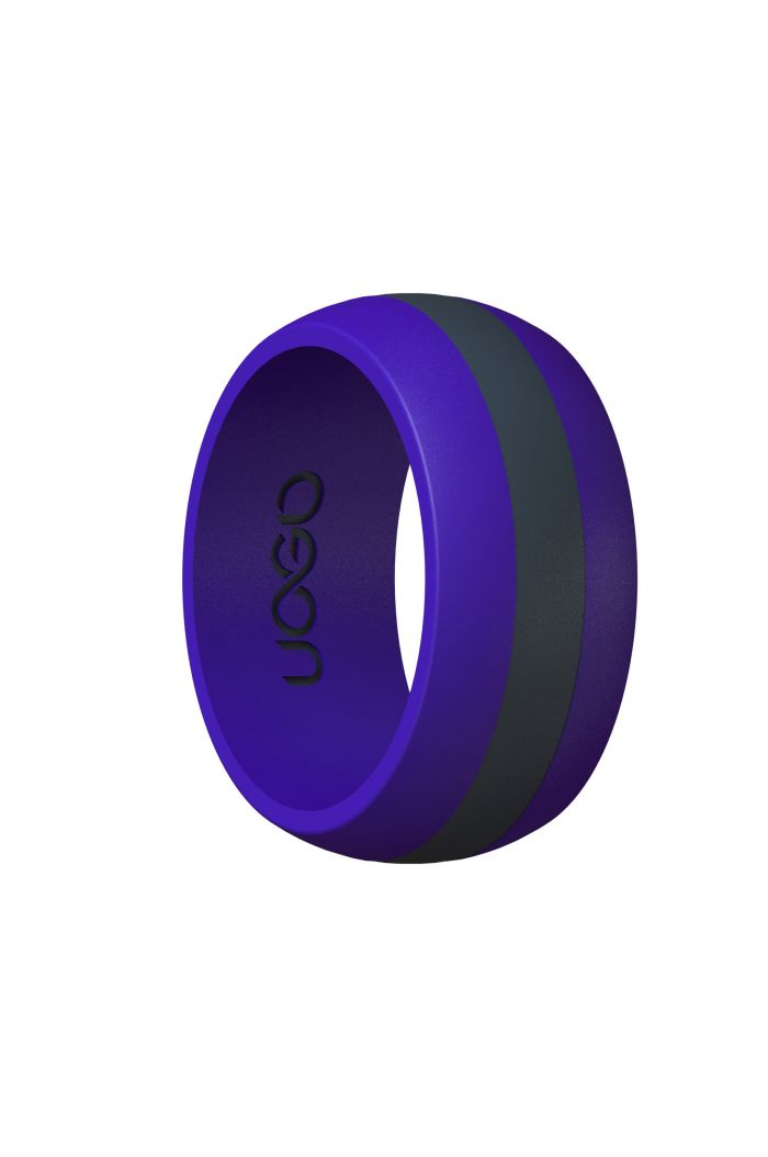 Men's Electric Blue/Carbon Black Track Inspired Silicone Ring