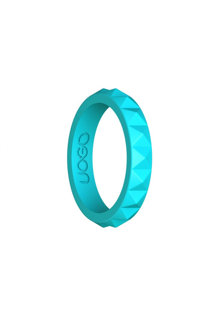 Women's Aqua Azure Diamond Stax Series Silicone Ring