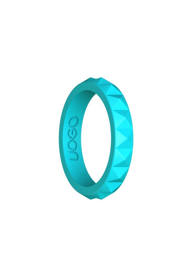 Women's Aqua Azure Diamond Stax Series Silicone Ring
