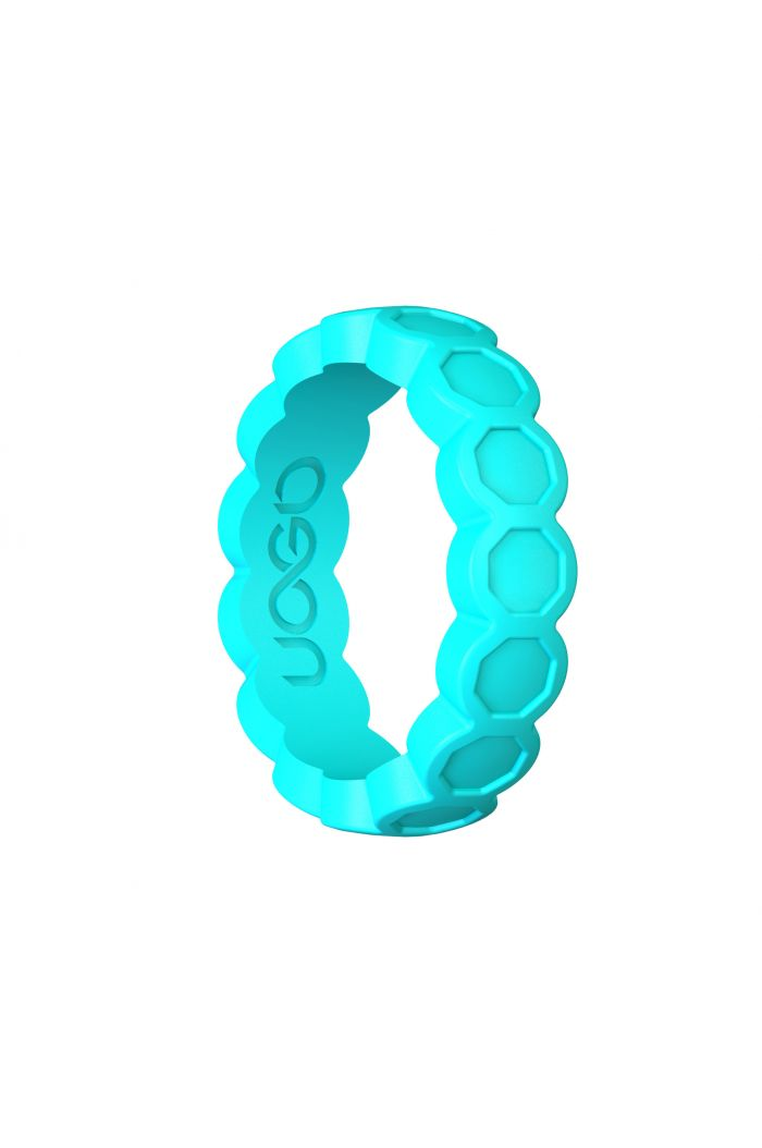 Women's Aqua Azure Aeon Diamond Series Silicone Ring