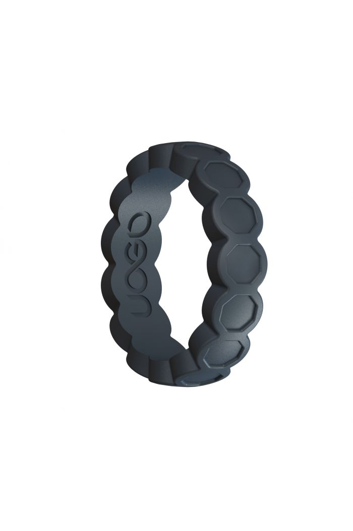 Women's Carbon Black Aeon Diamond Series Silicone Ring