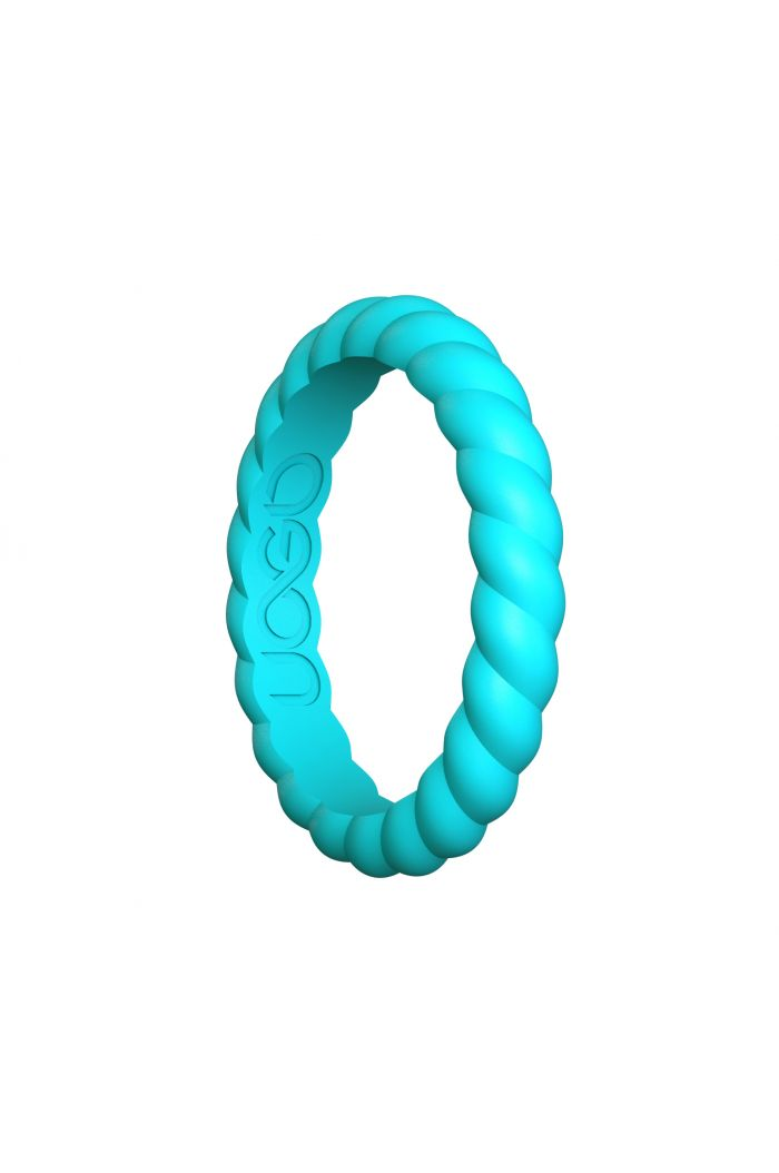 Women's Aqua Azure Helix Stax Series Silicone Ring