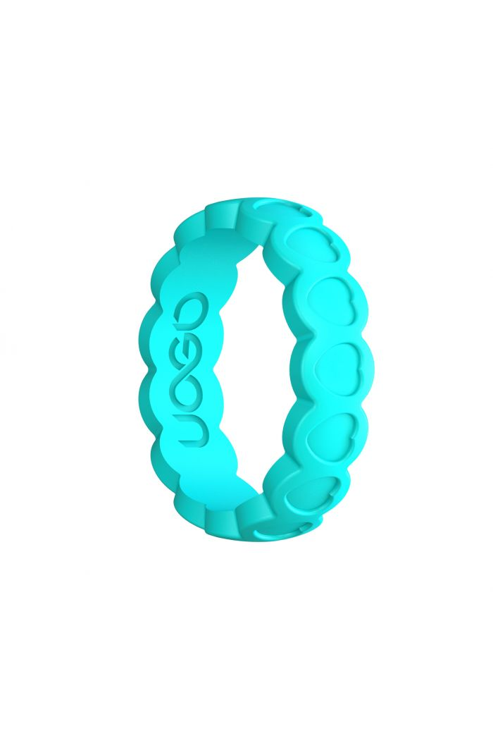 Women's Aqua Azure Aeon Heart Series Silicone Ring