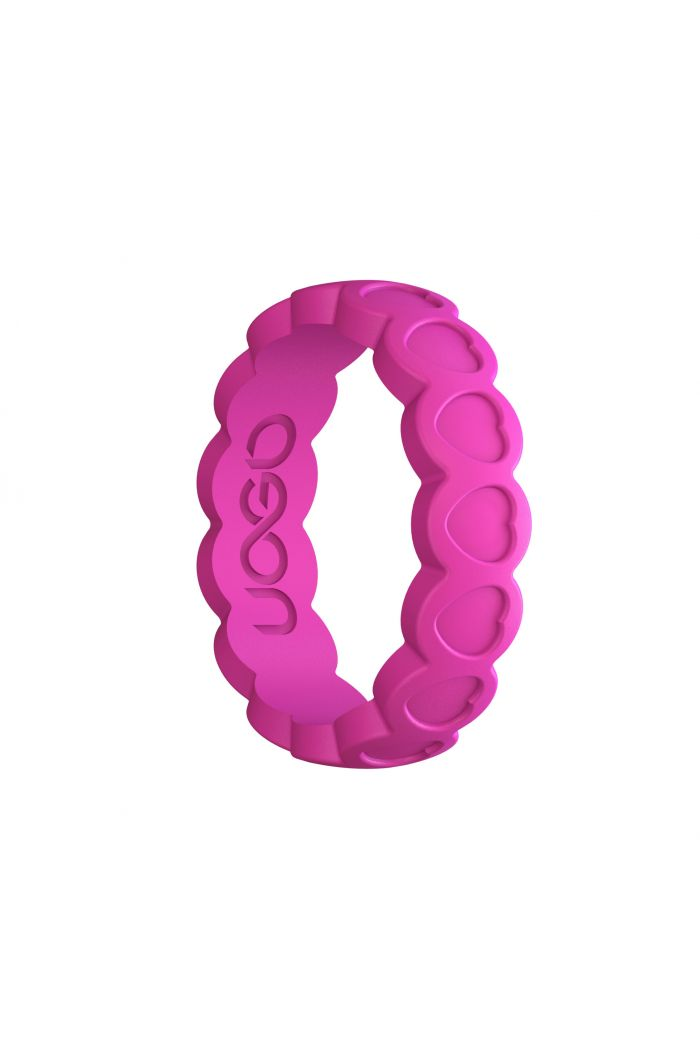 Women's Peony Pink Aeon Heart Series Silicone Ring